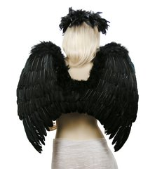 Angel of Hope, Large, Black feather wings w/halo & mask