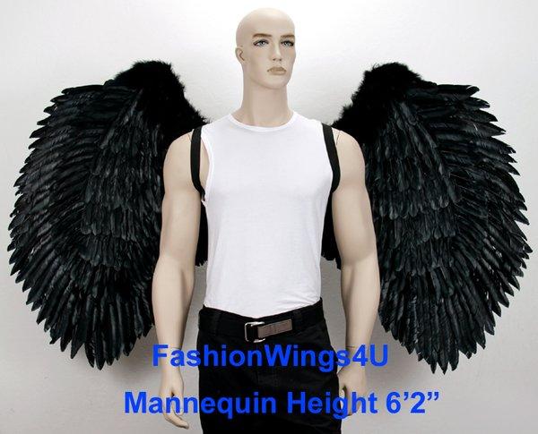 Angel of Power, XXXLarge, Black feather wings