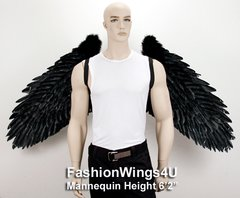 Angel of Destiny, XXXLarge, Black feather wings (Duo Use pointing up or down)