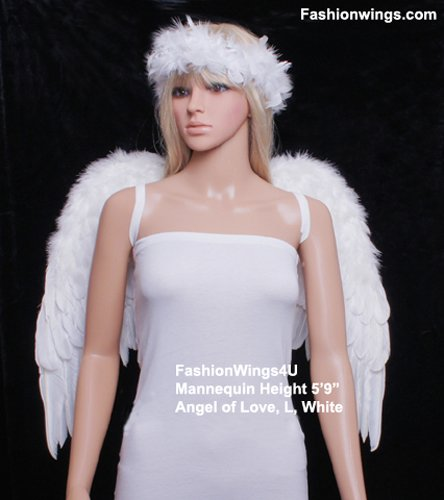 Angel of Love, Large, White feather wings w/halo