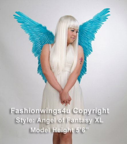 Angel of Fantasy, Extra Large, Aqua Blue feather wings