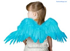 Angel of Desire, Medium, Aqua Blue feather wings