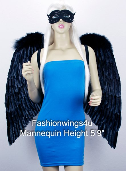 Angel of Love, Extra Large, Black feather wings w/mask