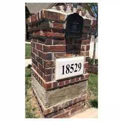 """Personalized Address Plaque. 9"""" x 15"""" Chamfered Edge Style. Pre-Cast Stone. Engraved. Painted and Sealed House Numbers."""