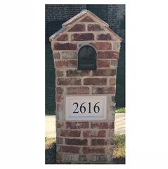 "Personalized Address Plaque. 9""tall X 15""wide X 3""thick. Recessed Style. Engraved Cast Stone. Painted and Sealed House Numbers"