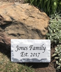 "Personalized Name Plaque. 9"" x 15"" Chiseled Style Family Name Cast Stone Plaque"