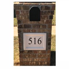 "Personalized Address Plaque. 12""tall X 15""wide X 3""thick. Recessed Style. Engraved Cast Stone. Painted and Sealed House Numbers"