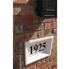 "Personalized Address Plaque. 12""tall X 16""wide X 3""thick. Crown Recessed Style. Engraved Cast Stone. Painted and Sealed House Numbers"