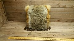 red fox and coyote fur pillow V1-5