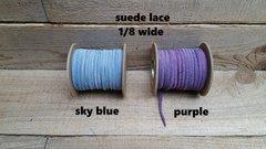 Genuine Leather / Suede Lace 1/8 wide, sky blue or purple 50 ft Bracelet Cord/Necklace