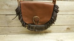 American made Leather Handmade Bag , small fringed bag / pouch-H-1