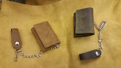 Leather Motorcycle Trucker / Biker american made Leather Trifold Wallet / chain