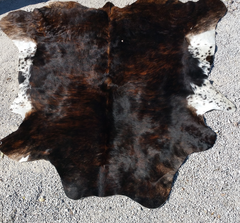 solid browns and white belly cow hide