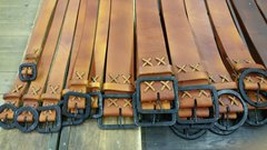 CUSTOM HAND MADE BELTS WITH FORGED BUCKLE - TOP GRAIN - DISTRESSED LEATHER FINISH- YOUR SIZE!