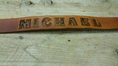 CUSTOM TOOLED - TOP GRAIN - LEATHER NAME BELT - YOUR SIZE!