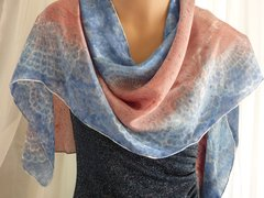 Hand Dyed Flat Crepe Silk Scarf Blue & Light Copper Lace Design