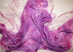 Silk Shawl with Long Fringe, Pink Lace
