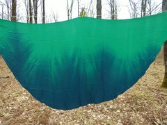 Half Circle Silk Belly Dance Veil Green and Teal ,8mm
