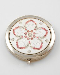 Compact Mirror Pink Rhinestone Flower