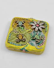 Compact Mirror Flowers and Frogs in Rhinestones