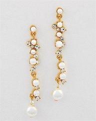 Long Faux Pearl and Rhinestone Dangle Earrings