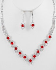 Silver Tone with Clear and Light Siam Rhinestones Necklace and Earrings set.