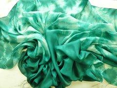 Silk Bellydance Veil Emerald Green Tie Dye Petite Silk Veil
