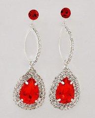 Ruby Red Tear Drop Dangle Earrings