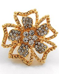 Stretch Flower Ring, Gold with Clear Rhinestones