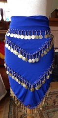 Royal Blue Hip Scarf with Light Gold Tone Coins