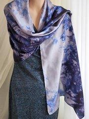 Large Silk Scarf Tie Dyed Blues, Purple and Silver Silk Scarf/Shawl
