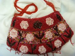 Red Beaded Purse with Fringe