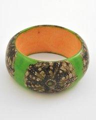 Lime Green Wood Bangle Bracelet