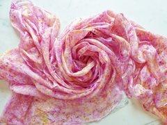 "Silk Bellydance Veil ""Raspberry Splash"" 3 yard silk veil"