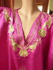 Fuschia Satin Caftan with Gold Metallic Embroidery