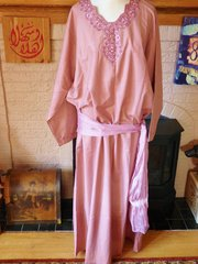 Dusty Rose Caftan with Embroidery and Silky Beaded Sash