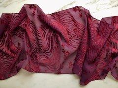 Burnout Velvet Scarf Red and Purple Plush Velvet and Sheer Silk Scarf