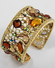 Gold Cuff Bracelet with Topaz or Green Jewels and Rhinesstones