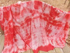 Silk Belly Dance Veil Red, White and Pink Tie Dye 5mm
