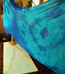 Silk Belly Dance Veil Turquoise and blue Tie dye Solar Design