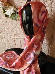 Hand Painted Silk Jaquard Scarf Silver Nautilus