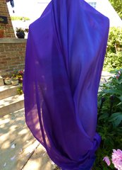 Silk Belly Dance Veil Royal Purple and Cool Purple. 5mm, 3 Yard