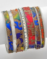Stackable Cloth, Silver, and Rhinestones Bracelets