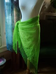 Lime Green Traingle Scarf With Long Fringe