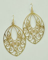 Oval Filigree Earrings, Gold or Silver