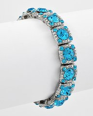 Stretch Aqua Rhinestone Bracelet