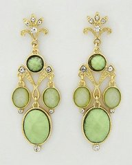 Green Chandelier Earrings in Gold Tone Setting with Cear Rhinestones