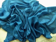 Silk Belly Dance Veil Children's Size in Peacock Blue