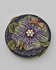 Compact Mirror Bee and Dragonfly in Rhinestones with Flower