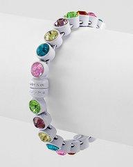 White and Multi Colored Rhinestone Bracelet
